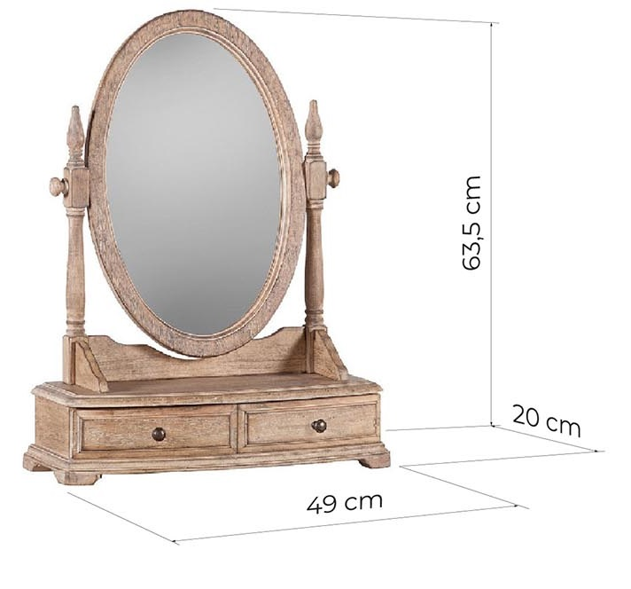 specchio da toeletta con cassetti