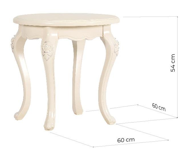 tavolino classico rotondo con gambe lavorate misure