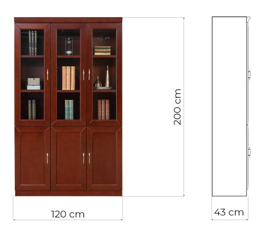 vetrina armadio ufficio tre ante vetro in legno noce per studi professionali