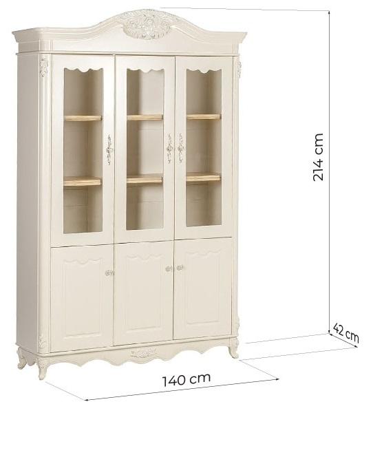 vetrina libreria classica avorio per studio domestico